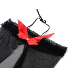 Women's Sexy Bowknot Backless Halter Babydoll Sleepwear - Black + Red