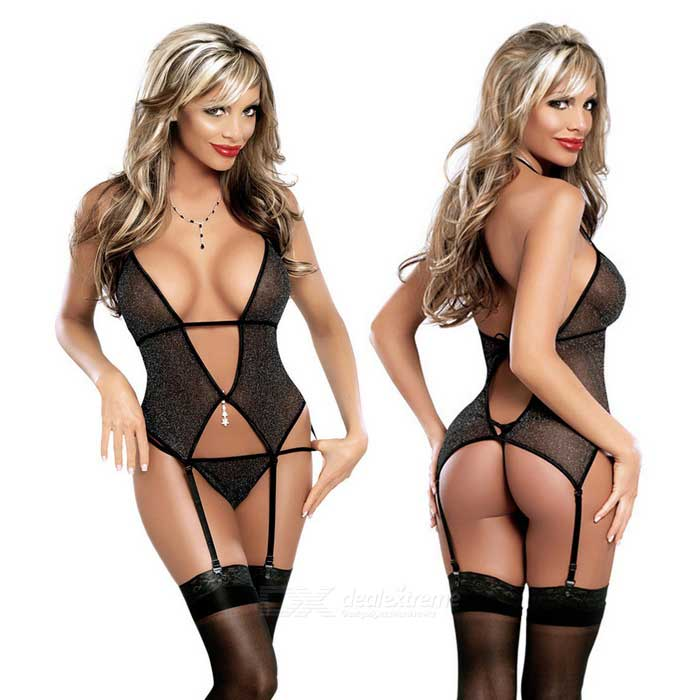 Sexy See-Through V-Front Garter Suit w/ T-Back / Stockings - Black