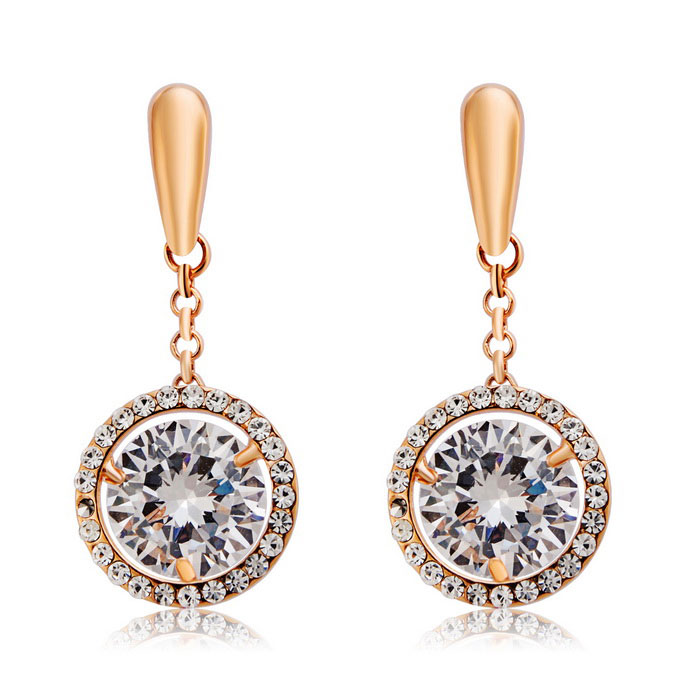 Round Zircon Earrings - Rose Gold