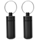 Outdoor Pill Tablet Storage Case Keychain - Black (2PCS)