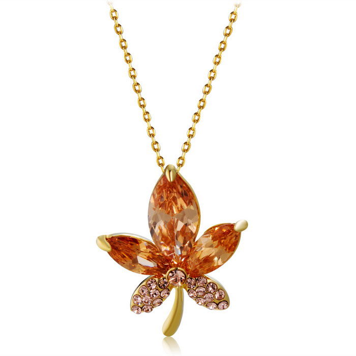 Women's Maple Leaf Style Zircon + Alloy Pendant Necklace - Golden