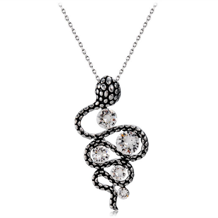 Crystals Inlaid Twisting Snake Style Pendant Necklace - Silver