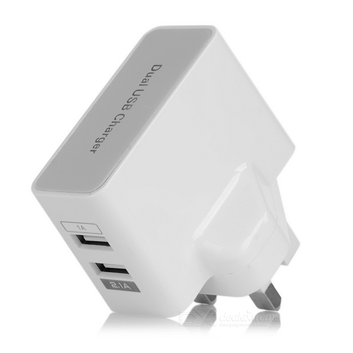 Dual USB 2.1A + 1A UK Plug Travel Charger - White