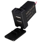 3.1A Dual USB Port Power Socket Socket Car Charger for Toyota - Black