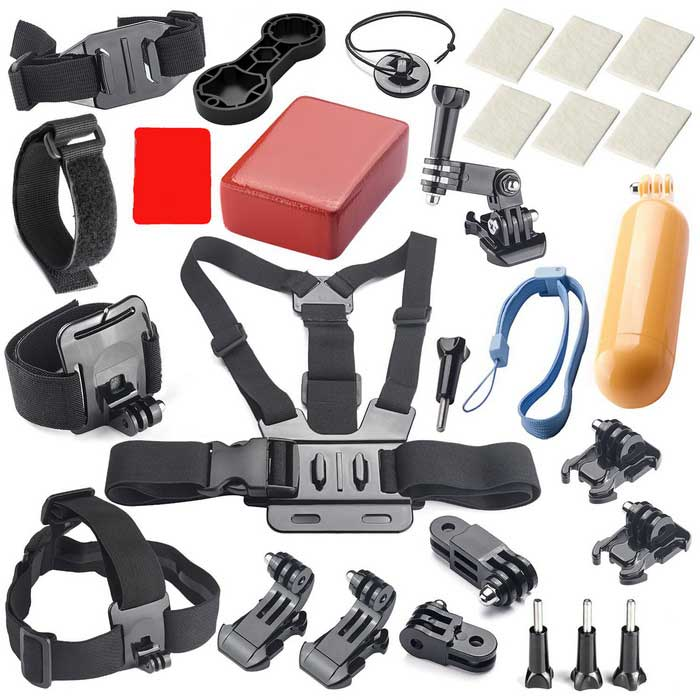 27-In-1 Camera Accessories Kit for GoPro 4 3+ 3 2 1 - Black