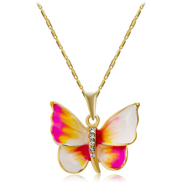 Smart Butterfly Pendant Brass Chain Necklace - Golden