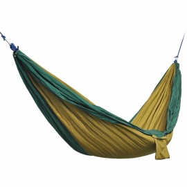 Outdoor Parachute Fabric Hammock for Two Person - Brown + Dark Green