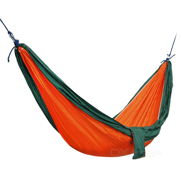 Outdoor Parachute Fabric Hammock for Two Person - Orange + Dark GreenSleeping Bags<br>Form  ColorOrange + GreenQuantity1 DX.PCM.Model.AttributeModel.UnitMaterialNylonBest UseMountaineeringTypeHammocksPacking List1 x Parachute Nylon Fabric Hammock For Double Person  2 x Strong Ropes (173cm)<br>