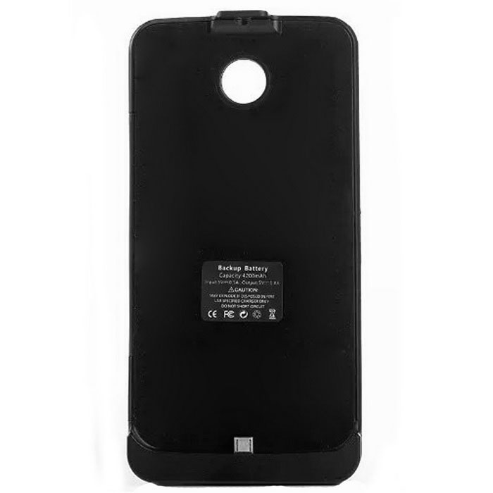 "Dx coupon: ""4200mAh"" Battery Back Case w/ Stand for Motorola Nexus 6 - Black"