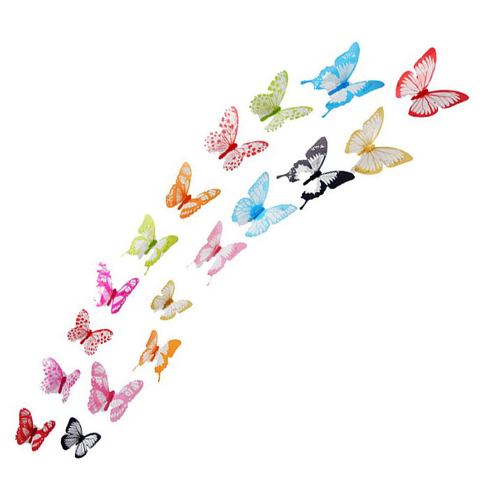 3D Colorful Butterflies Style Wall Stickers Decals - Blue (18PCS)