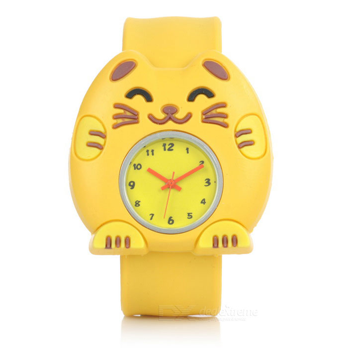 Children's Cartoon Cat Style Quartz Analog Watch - Yellow (1*377)