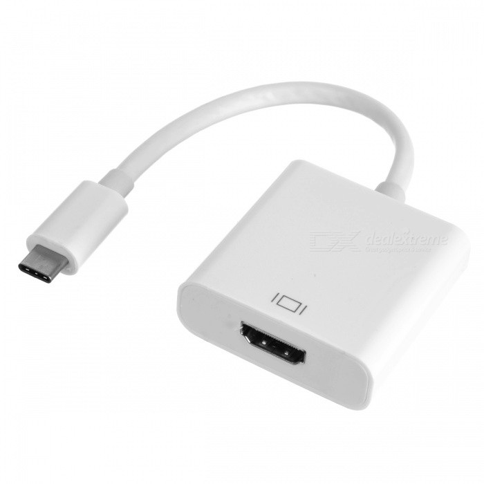 USB 3.1 Type-C to HDMI HD Adapter Connection Cable - White (18.5cm)