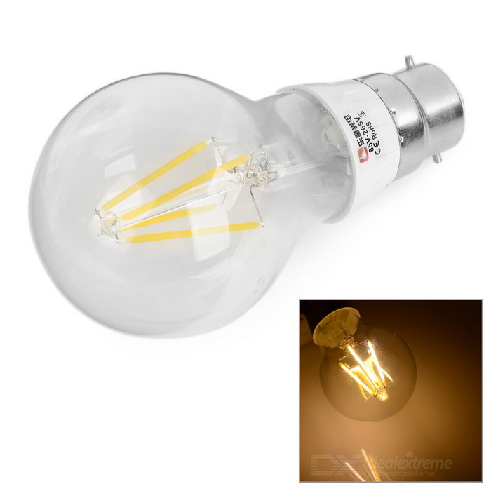 Lexing B22 4W 4-LED Filament Warm White Light Bulb (85~265V)
