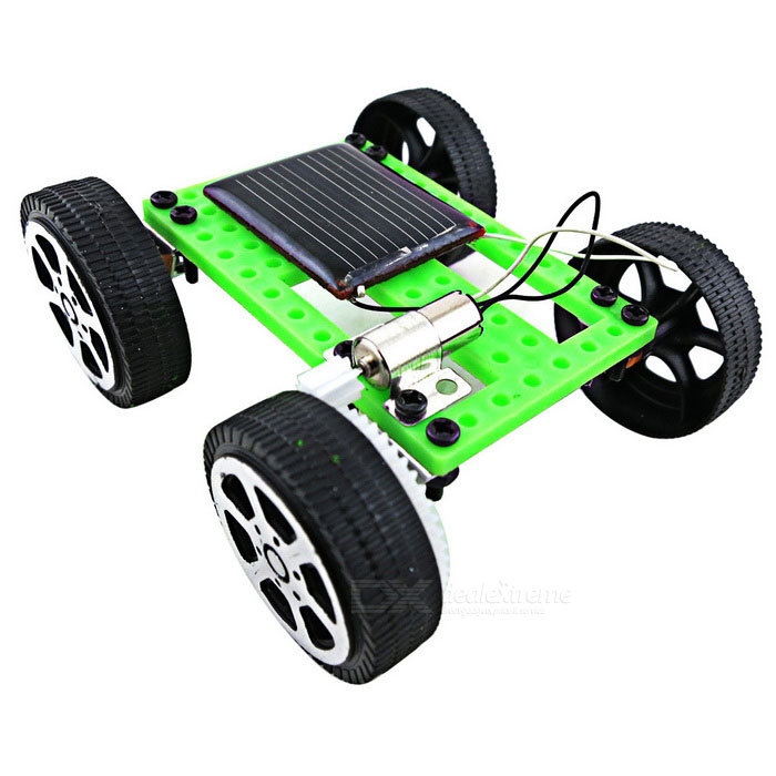 Assembled Solar-Powered Car Vehicle Toy for Kids - Green + Black
