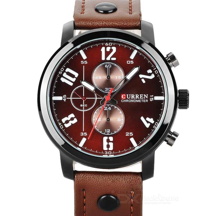 Buy CURREN 8192 Men's PU Band Quartz Analog Wrist Watch - Brown (1*626) with Litecoins with Free Shipping on Gipsybee.com