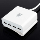 LOCA 4-Port USB Power Adapter for Tablet / Cellphone - White (US Plugs)