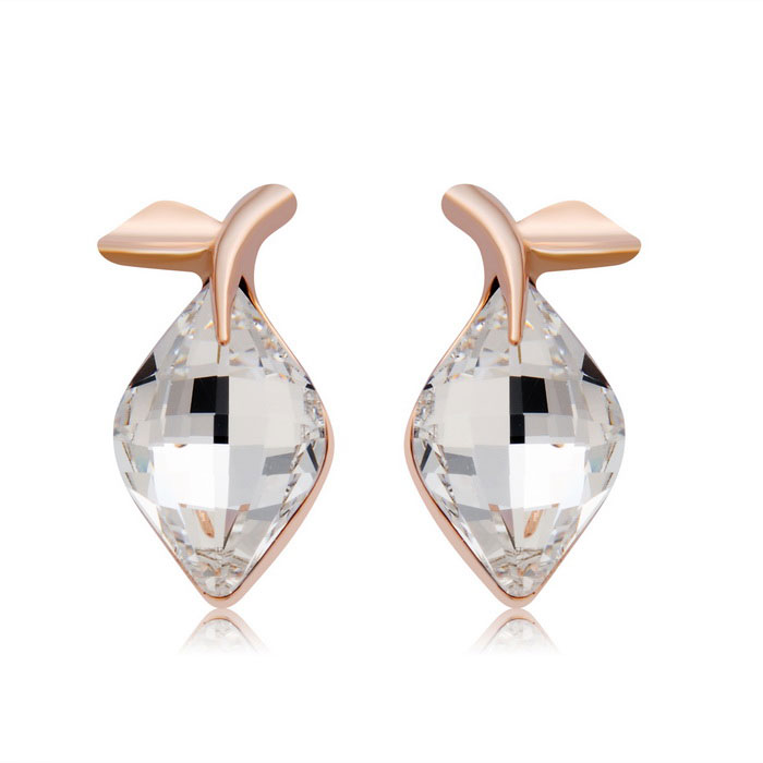 Fashionable Leaf Style Crystal Inlaid Earrings - Rose Gold (Pair)