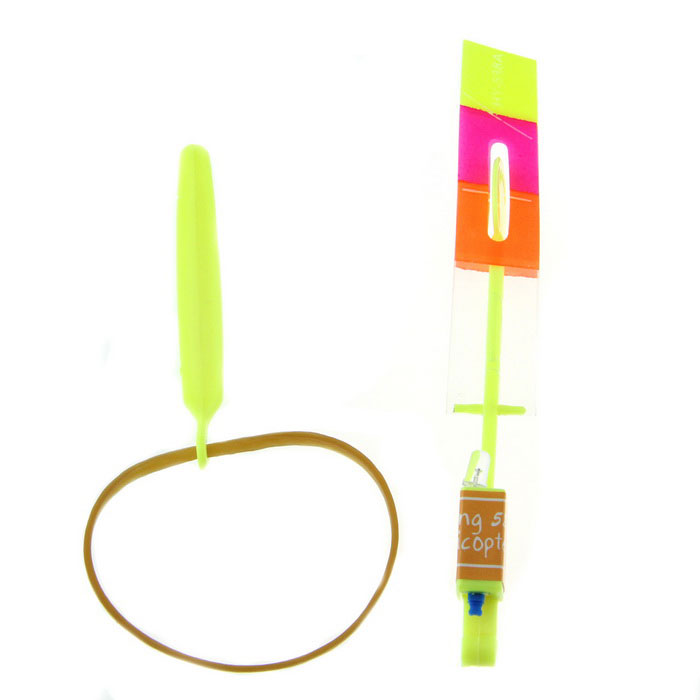 LED Light-up Rubberband Slingshot Helicopter Toy - Fluorescent Yellow