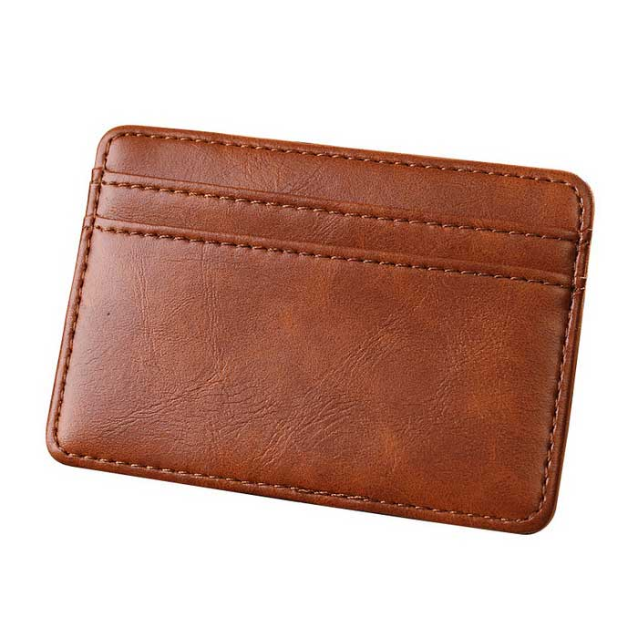 Mens Multi-functional Magic PU Card Holder Mini Wallet - Light BrownWallets and Purses<br>Form ColorLight BrownQuantity1 DX.PCM.Model.AttributeModel.UnitShade Of ColorBrownMaterialPU leatherGenderUnisexSuitable forAdultsOpeningOthers,Folding / UnfoldingStyleFashionWallet Dimensions10.2x7.2x0.8cmOther FeaturesCheap and fashionable;<br>Money wallet / card wallet / money clip wallet;<br>Personal use or be a gift.Packing List1 x Wallet<br>