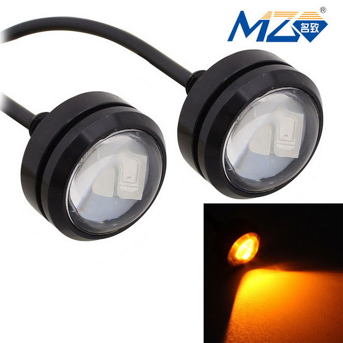 MZ 1.5W 22.5mm Spot LED Car Daytime Running Light Yellow 3-SMD (Pair)