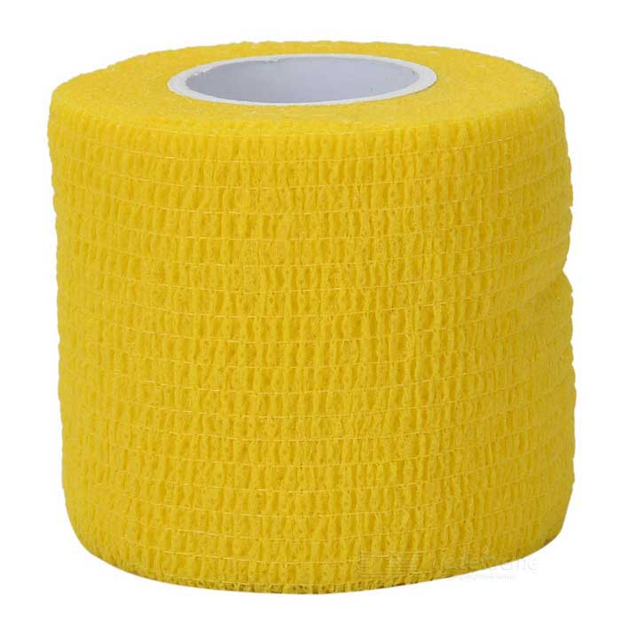 Sports Athletes Fabric Flexible Breathable Bandages Roll - Yellow / White / Red