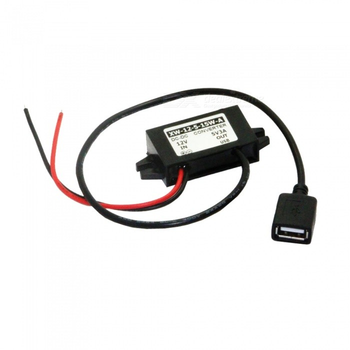 Buy USB Female Port DC 12V to 5V Power Converter Adapter Cable - Black with Litecoins with Free Shipping on Gipsybee.com