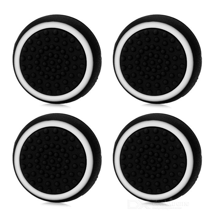 Gamepad Thumb Stick Caps Covers for PS4 &amp; More - Black + White (4PCS)Other Accessories<br>Form  ColorBlack + WhiteQuantity1 DX.PCM.Model.AttributeModel.UnitMaterialSiliconeShade Of ColorBlackCompatible ModelsPS2,PS3,PS3 Slim,PS4,Others,XBOX OnePacking List4 x Thumb grips<br>