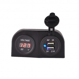 12-24V-Dual-USB-31A-Motorcycle-Voltmeter-Waterproof-Charger-Black