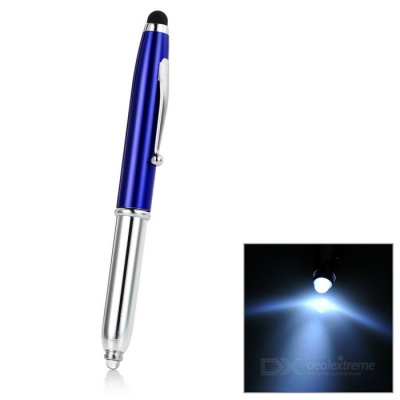 3-in-1 Universal Aluminum Alloy + Silicone Stylus Pen w/ Ballpoint Pen / LED Light - Blue + Silver