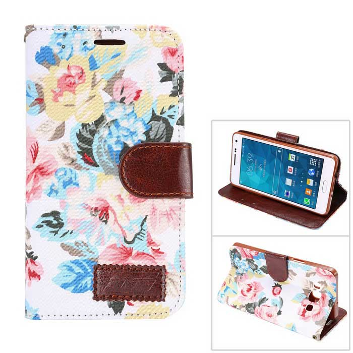 MO.MAT Flowers Pattern Wallet Case w/ Card Slot for Samsung A5 - White