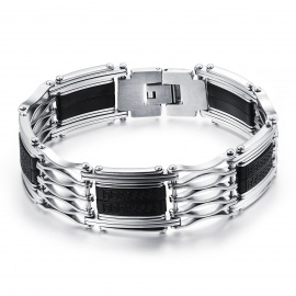 Mens-Hollow-out-Stainless-Steel-Bracelet-Bangle-Black-2b-Silver