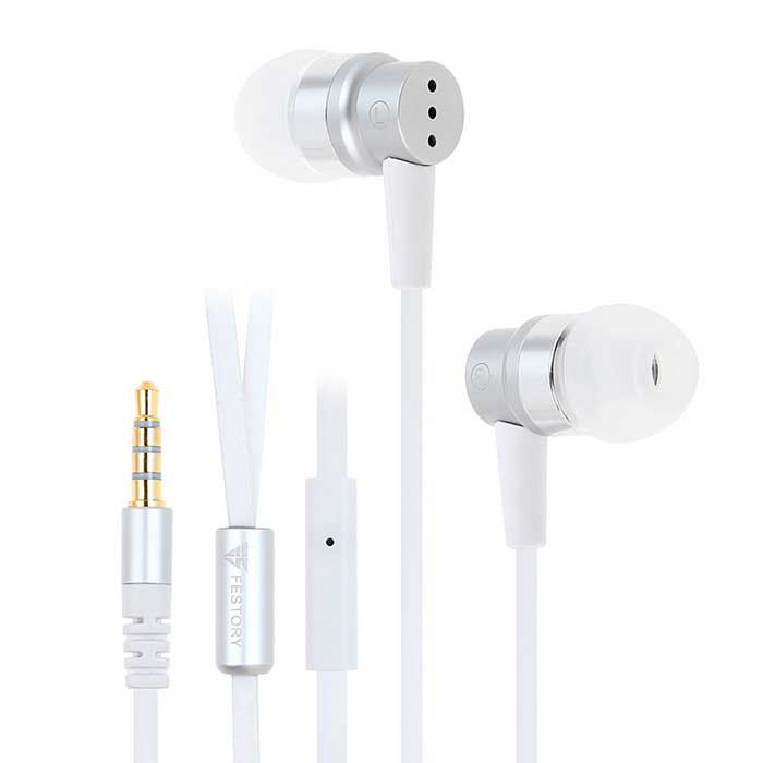 FESTORY F003 In-ear Bass Earphone w/ Mic - Silver (3.5mm Plug)