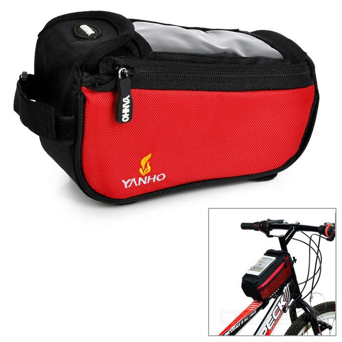 YANHO Bicycle Nylon Top Tube Bag for GPS / Cellphone - Red /  Blue (1.5L)