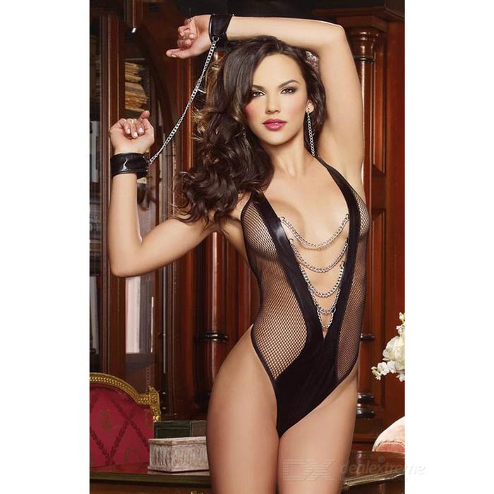 Deep V-Neck See-Through Front / Empty Back Suit w/ Handcuffs - Black