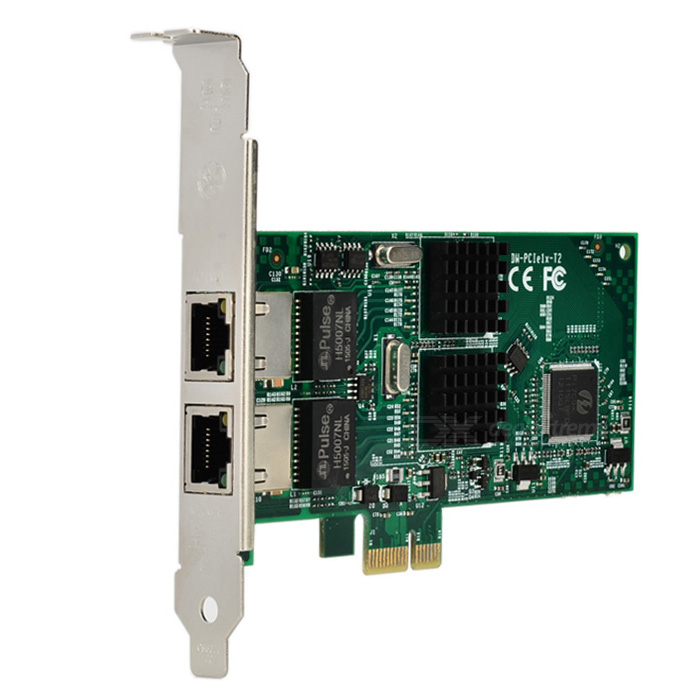 Dual PCI-E Gigabit Ethernet Network Card w/ RJ45 - Multi-ColoredNetwork Cards<br>Form ColorGreen + MulticoloredQuantity1 DX.PCM.Model.AttributeModel.UnitMaterialFiber + copperShade Of ColorGreenInterfaceRJ45,PCI-ETransmission Rate10,100,1000 DX.PCM.Model.AttributeModel.UnitChipsetIntel i350t2Network ProtocolsIEEE 802.11a,IEEE 802.11n,IEEE 802.11b,IEEE 802.11gAntennaNoSupports SystemWin xp,Win 2000,Win 2008,Win vista,Win7 32,Win7 64,Win8 32,Win8 64,LinuxPacking List1 x Network card adapter1 x Baffle board1 x CD<br>