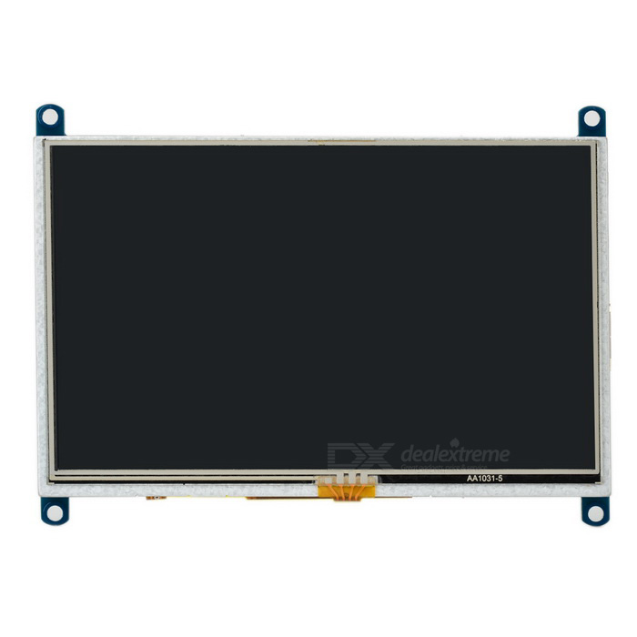 Waveshare 5 LCD Resistive Touch Screen Module for Raspberry Pi B / B+LCD, LED Display Module<br>Form ColorWhite + BlackModelN/AQuantity1 DX.PCM.Model.AttributeModel.UnitMaterialPCB + acrylic + LCDScreen TypeOthers,5 HDMI display screen, 800 x 480P HD resolution, resistive touch screenScreen Size5 DX.PCM.Model.AttributeModel.UnitResolution800 x 480Working Voltage   3.3 DX.PCM.Model.AttributeModel.UnitEnglish Manual / SpecYesPacking List1 x 5 HDMI LCD screen module 1 x HDMI connecting cable (30cm)1 x Resistive screen stylus1 x USB Type A male to Micro USB male cable (40cm)1 x CD1 x Pack of RPi copper pillars1 x 5 Transparent case shell1 x Pack of screws<br>