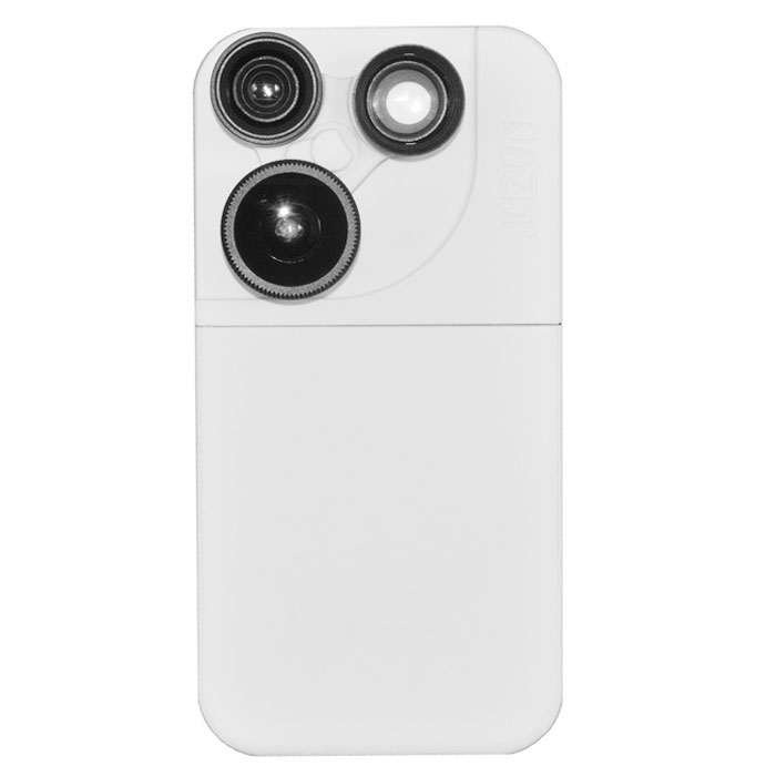 4-in-1 Fish Eye + Marco + Wide Angle Lens + 2X Telephoto Lens for IPHONE 5 / 5S - White