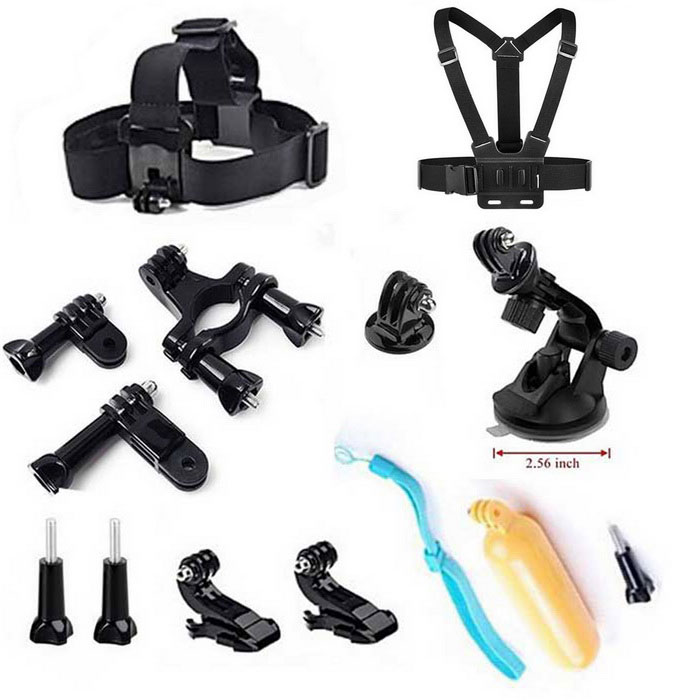 9-in-1 Sports Essentials Kit for GoPro, HERO 3, HERO 2, SJ4000 - BlackOther GoPro Accessories<br>Form ColorBlackQuantity1 DX.PCM.Model.AttributeModel.UnitMaterialABSShade Of ColorBlackPacking List1 x Headband1 x Chest strap1 x Car suction cup mount holder1 x Floating grip mount1x Tripod mount adapters2 x Vertical surface J-hook buckles3 x Long screw bolts 1 x Bicycle handlebar1 x Seatpost clamp with three-way adjustable pivot arm<br>