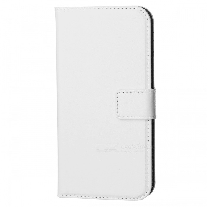 Luxury PU Flip-Open Wallet Case for Samsung Galaxy S6 - White