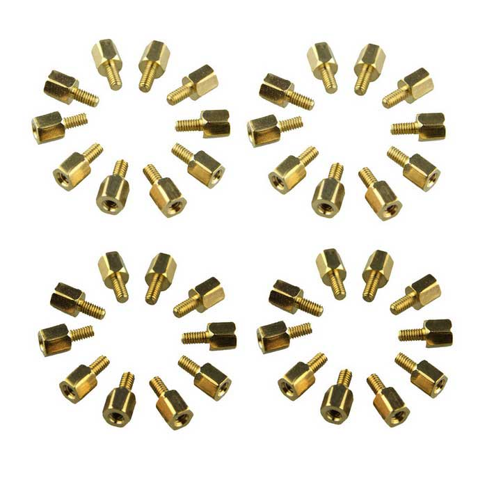 DIY M2.5*5 + 5mm Hex Brass Standoff Spacers for PCB Board (40PCS)