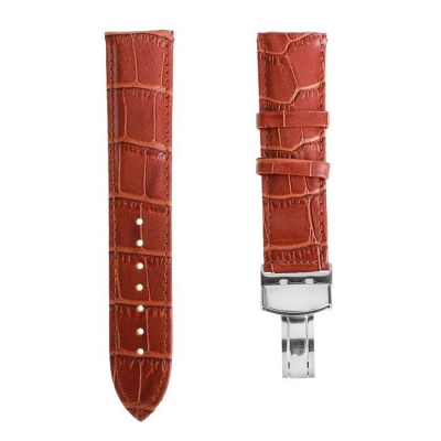 22mm Durable Pin Buckle Adjustable PU Watch Band Strap - Coffee