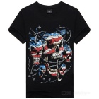 Pirate Skull Pattern Pure Cotton T-Shirt - Black (Size M)