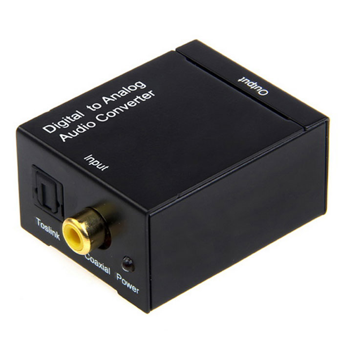 Digital Coaxial Toslink Signal to Analog Audio Converter Adapter Black