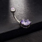 316L Medical Steel AAA Zircon Belly Ring Button Bar Ring - Purple