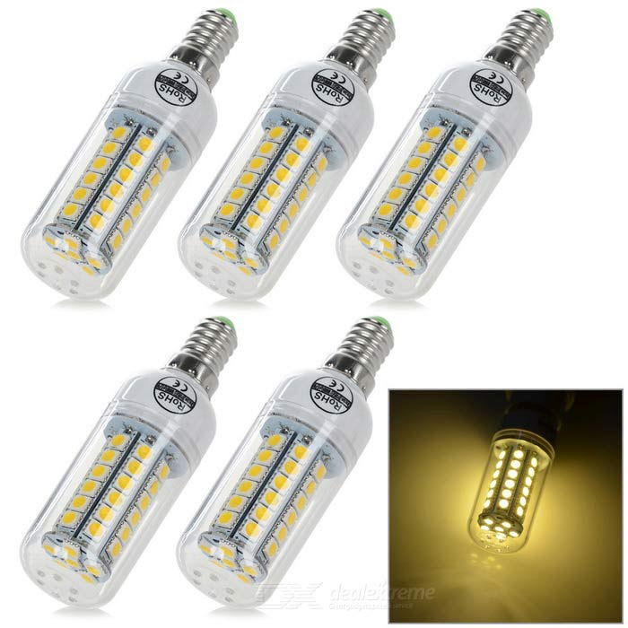 Buy E14 8W LED Corn Lamps Warm White Light 3200K 600lm 48-SMD (5PCS) with Litecoins with Free Shipping on Gipsybee.com