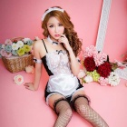 Women's Sexy Maid Servant Cosplay Lingerie Suit - White + Black