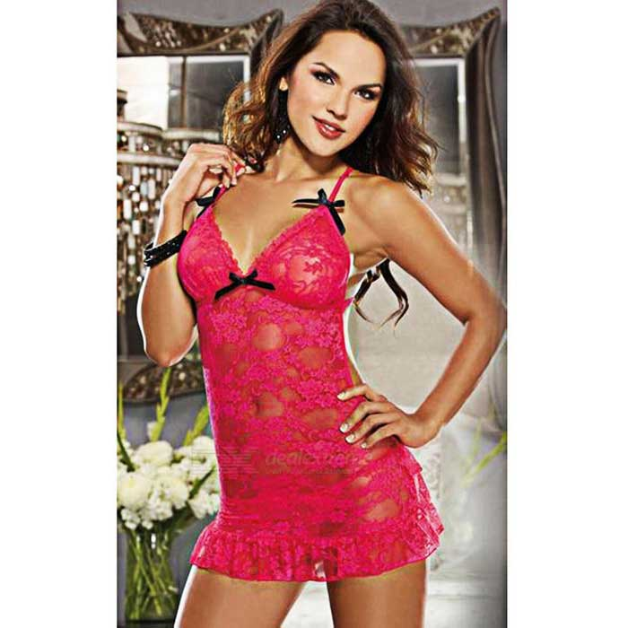 Backless Lace Mini Dress Style Sexy Lingerie - Deep Pink