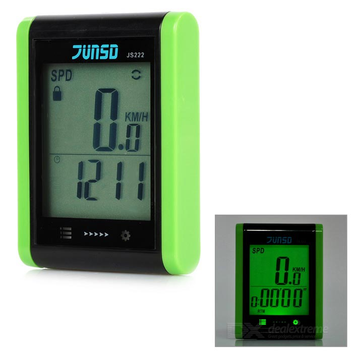 "JUNSD 16-Function Water Resistant 1.7"" Screen Bike Computer - Green"