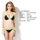 Colloyes Triangle Bra Top + Classic Cut Bottom Bikini - Green (L)
