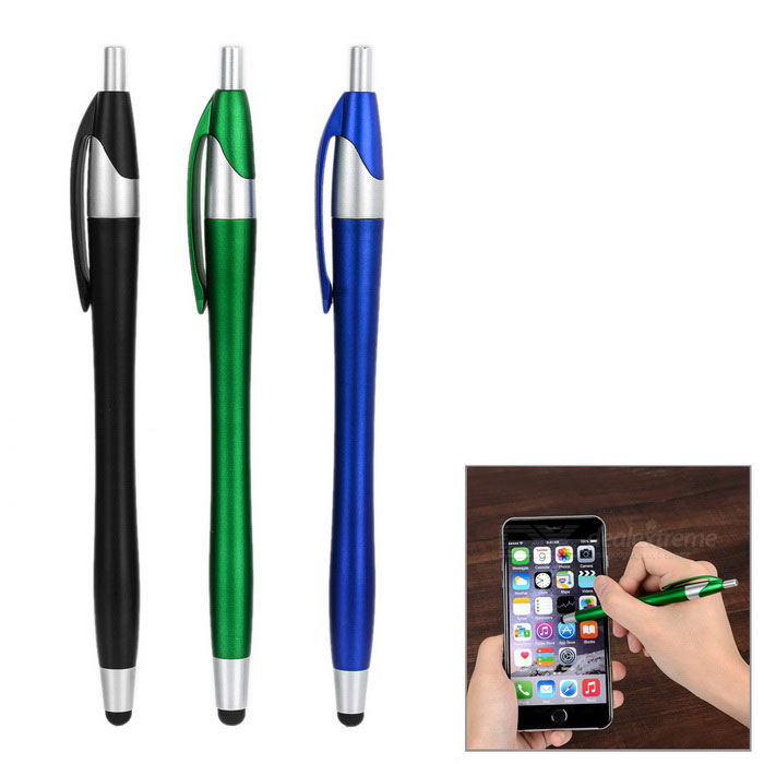 Kinston Ballpoint Pens Touch Screen Stylus Pens - Black + Blue + GreenStylus &amp; Touch Gloves<br>Form  ColorBlack + Blue + Multi-ColoredModelN/AMaterialAluminum + siliconeQuantity1 DX.PCM.Model.AttributeModel.UnitCompatible ModelsUniversalCompatible Screen TypeCapacitive ScreenPacking List3 x Stylus pens<br>